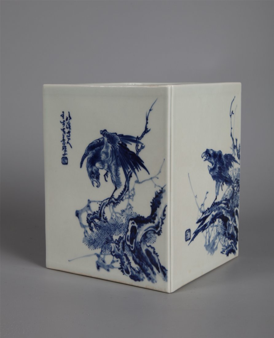 CHINESE PORCELAIN BLUE AND WHITE SQUARE BRUSH POT