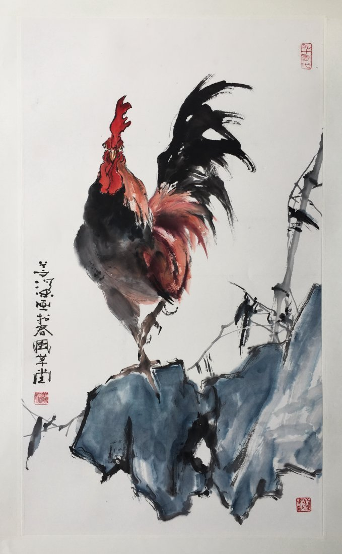 CHINESE SCROLL PAINTING OF ROOSTER ON ROCK