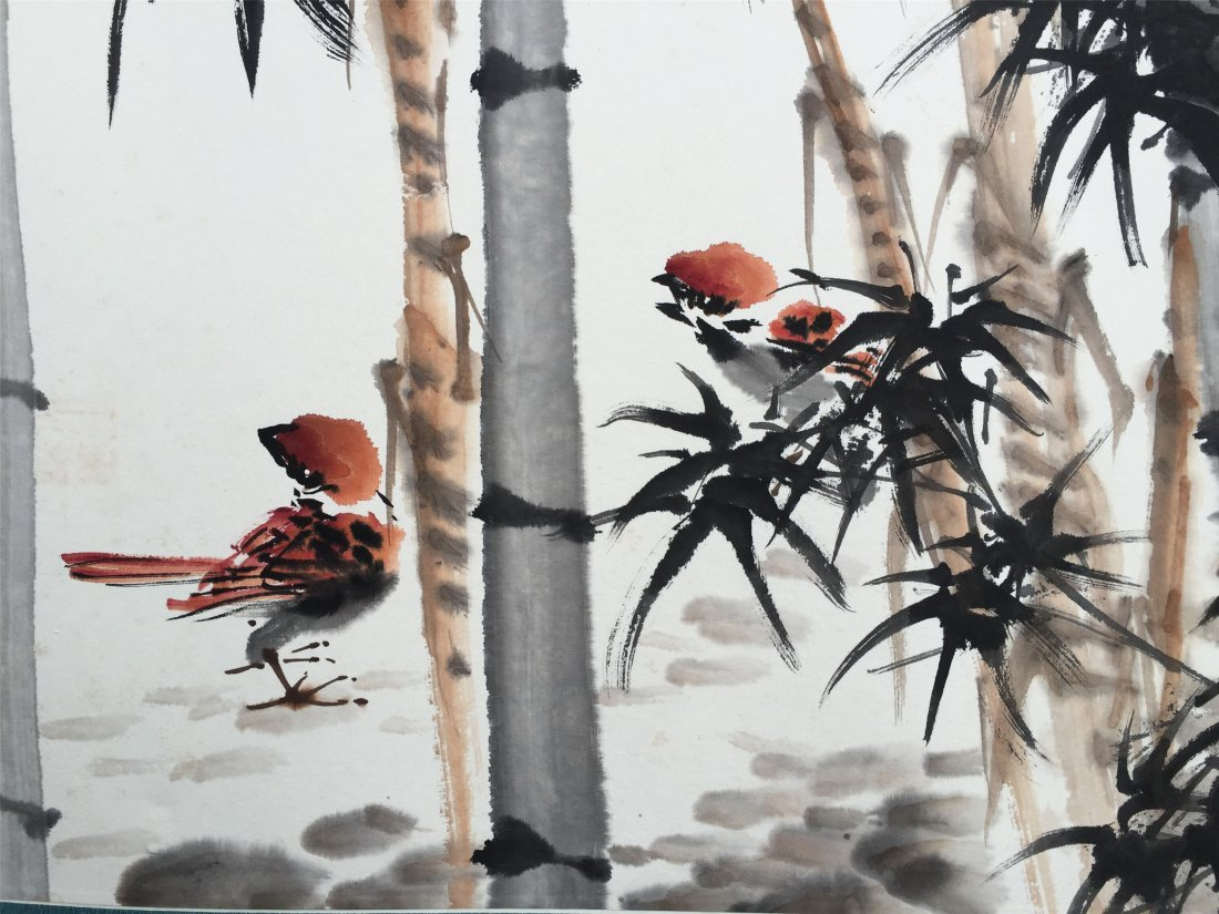 CHINESE SCROLL PAINTING OF SPARROW AND BAMBOO - 2