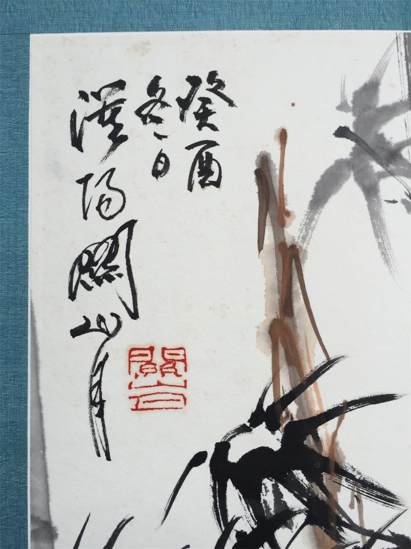 CHINESE SCROLL PAINTING OF SPARROW AND BAMBOO - 3