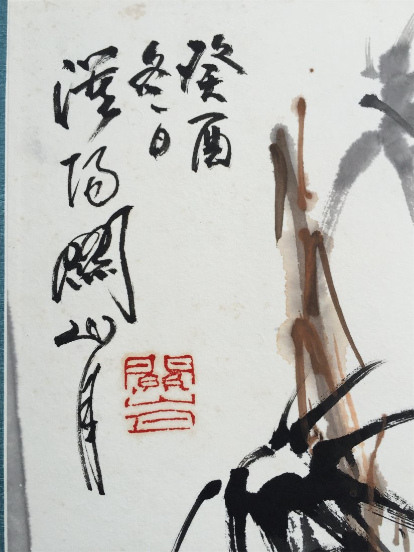 CHINESE SCROLL PAINTING OF SPARROW AND BAMBOO - 5