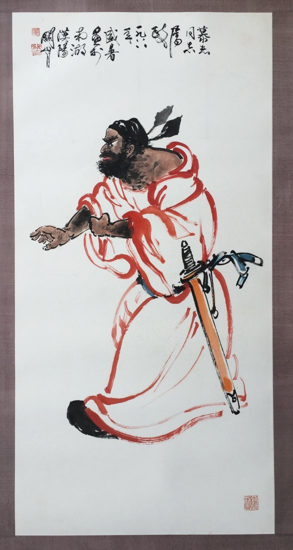 CHINESE SCROLL PAINTING OF SWORD MAN
