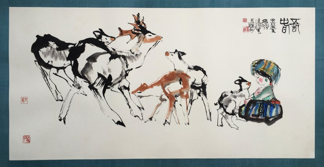 CHINESE SCROLL PAINTING OF GIRL AND DEER