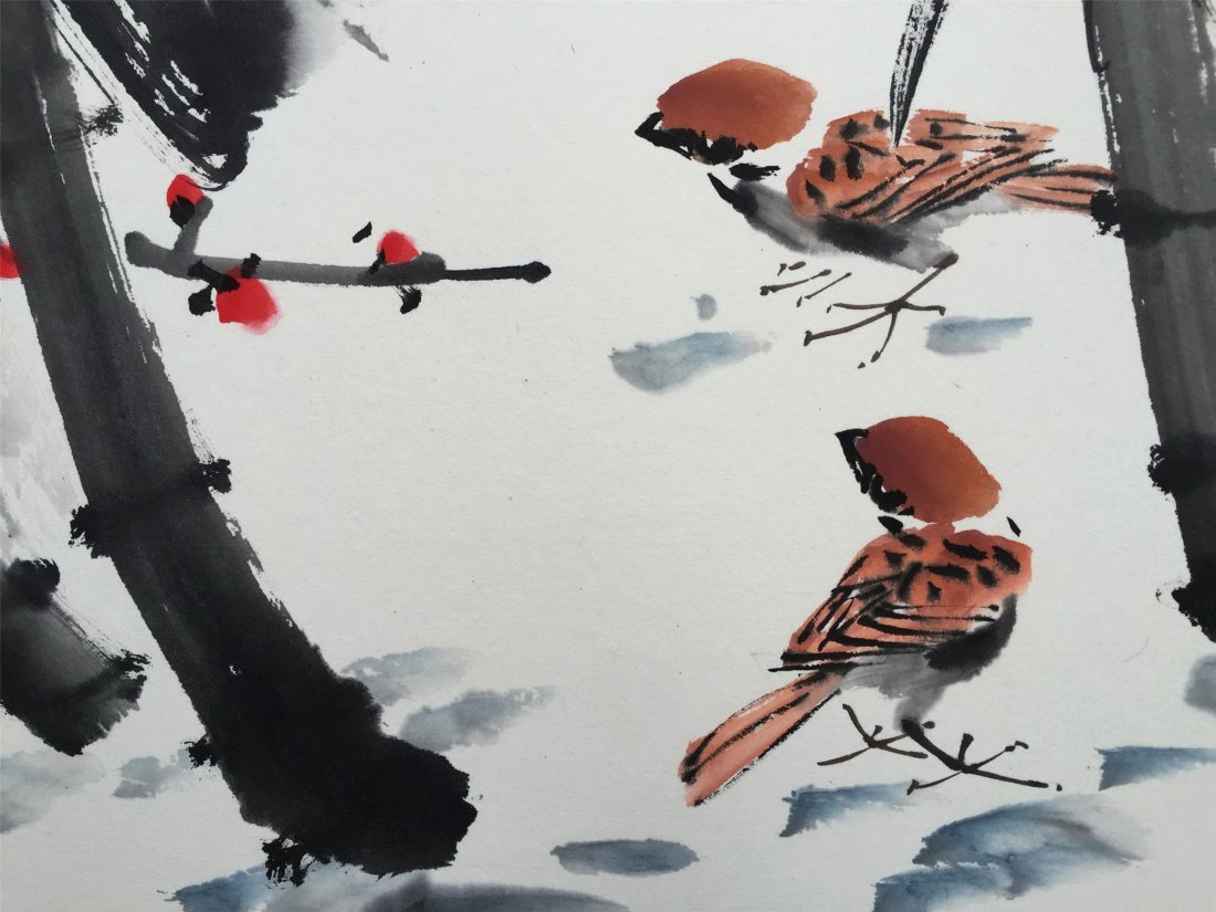 CHINESE SCROLL PAINTING OF PLUM - 5