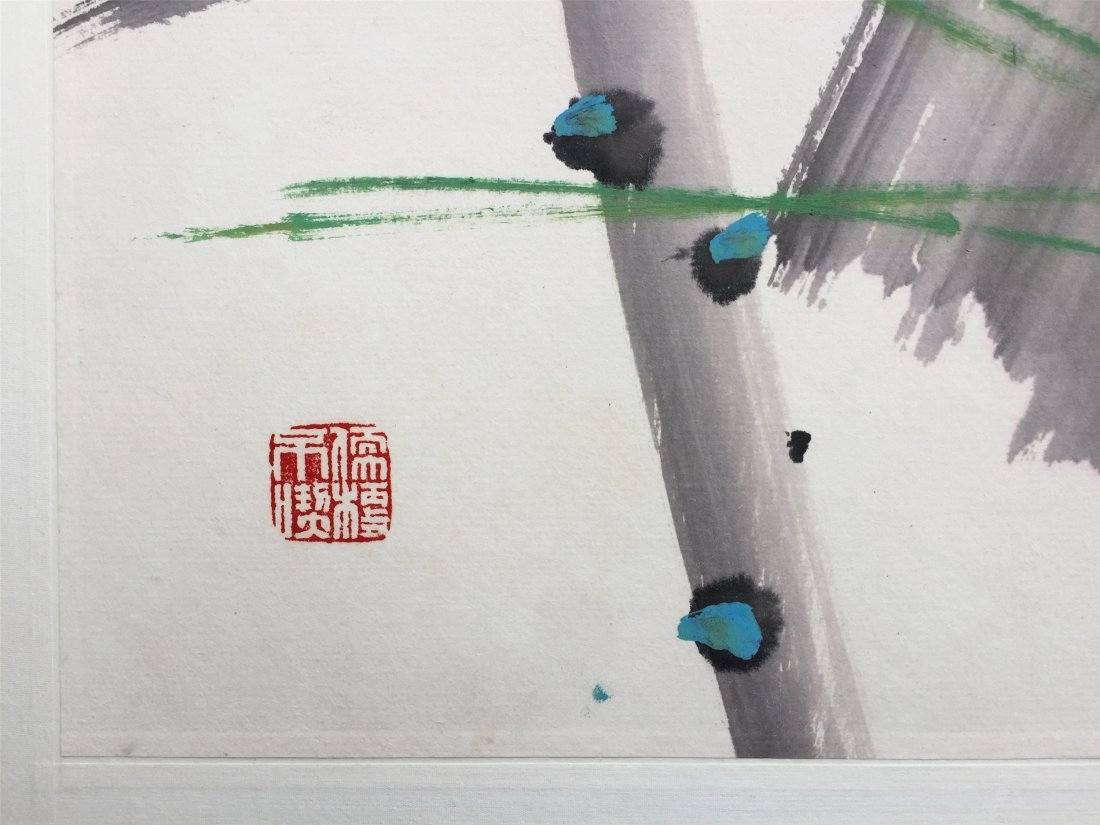 CHINESE SCROLL PAINTING OF BIRD AND LOTUS - 5