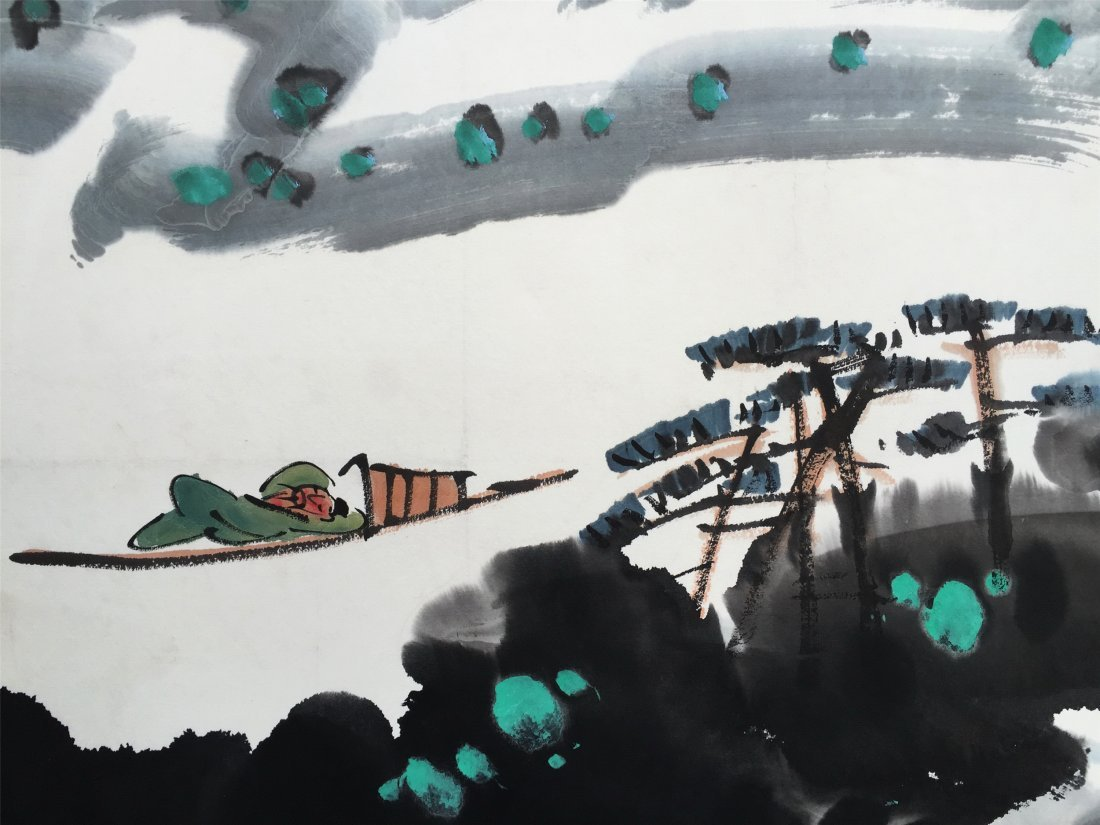 CHINESE SCROLL PAINTING OF RIVER VIEWS - 3