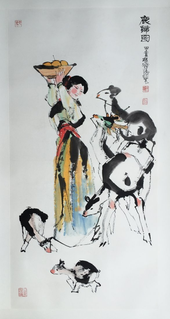 CHINESE SCROLL PAINTING OF GIRL AND DEERS