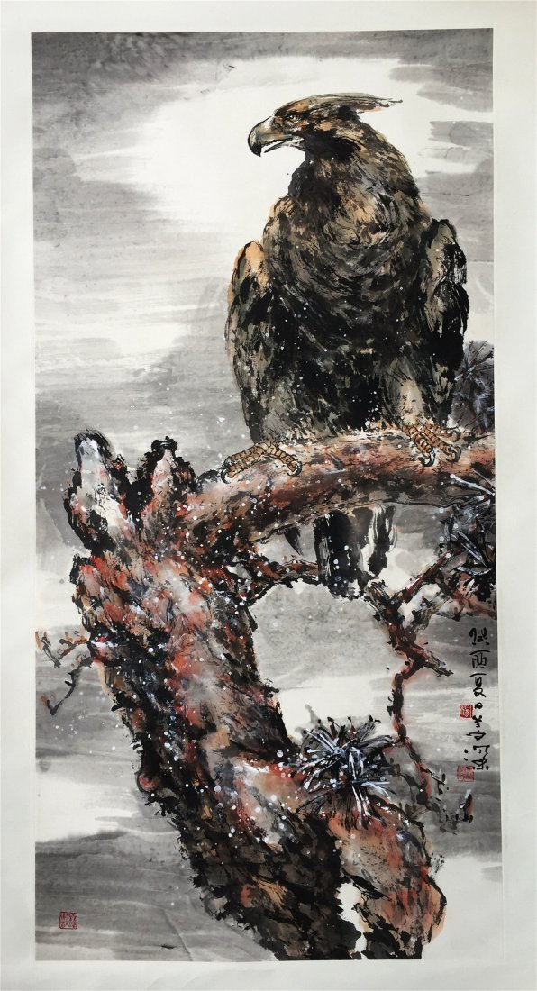 CHINESE SCROLL PAINTING OF EAGLE ON PINE