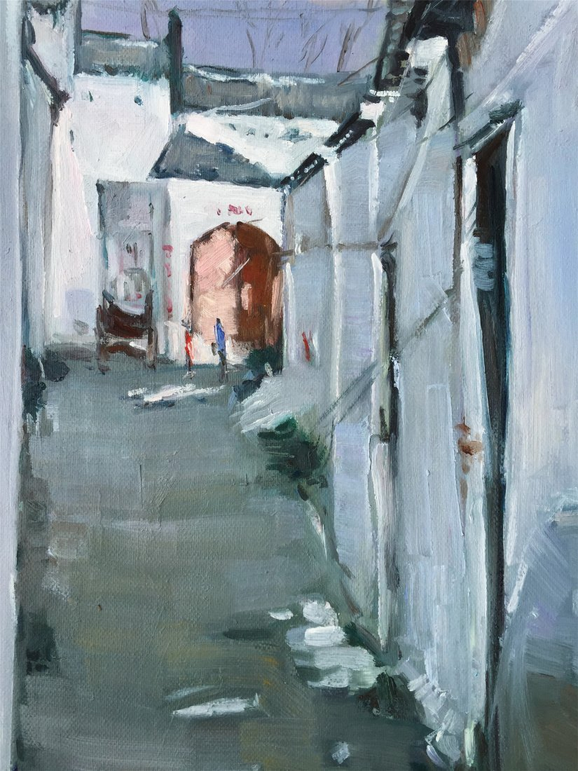 CHINESE OIL PAINTING OF WHITE HOUSES - 3