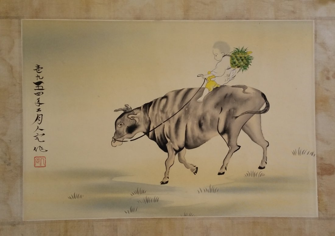CHINESE SCROLL PAINTING OF BOY ON BACK OF OX