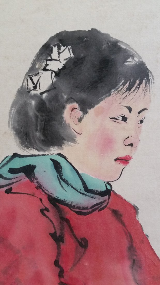 CHINESE SCROLL PAINTING OF A WOMAN PORTRIAIT - 3