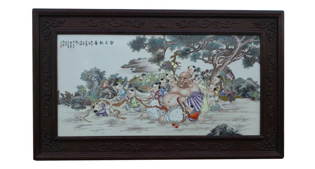 CHINESE PORCELAIN FAMILLE ROSE PLAQUE OF LOHAN AND BOYS