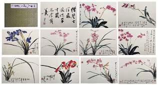 TWEEVLE PAGES OF CHINESE ALBUM PAINTING OF ORCHID