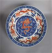 CHINESE PORCELAIN BLUE AND WHITE IRON RED DRAGON DISH