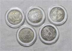 FIVE CHINESE DOLLAR SILVER COINS