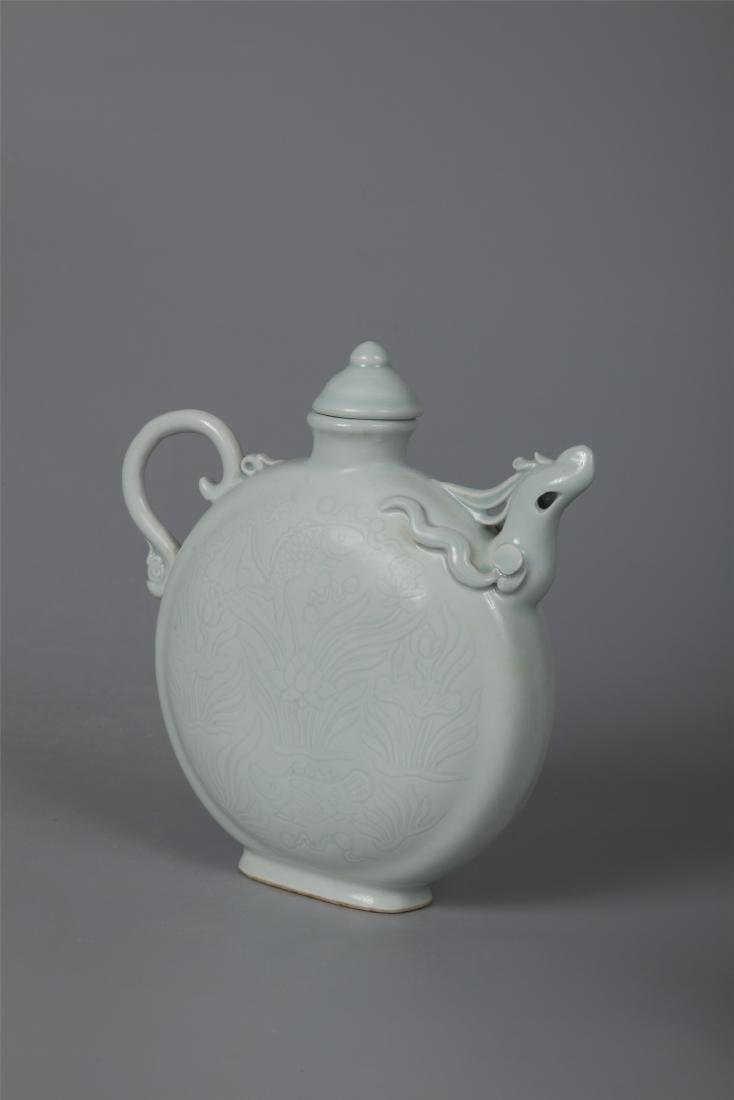 CHINESE PORCELAIN WHITE GLAZE DRAGON KETTLE - 2