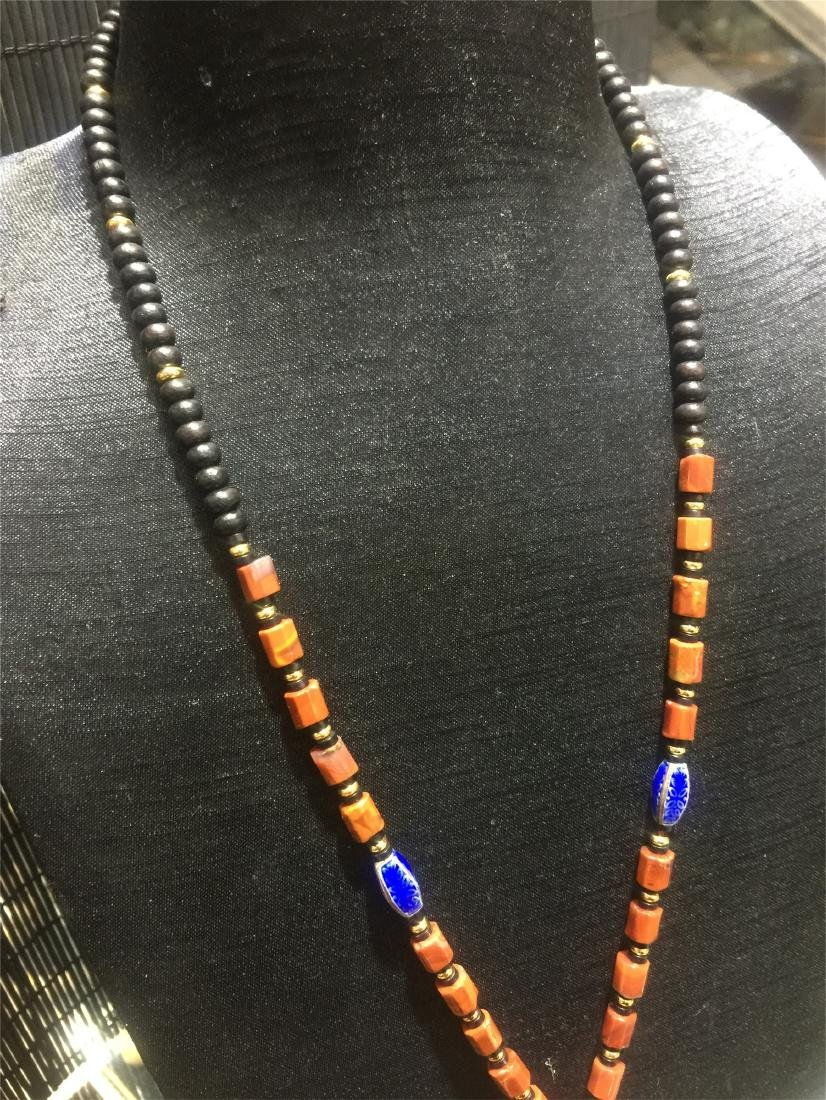 RED AGATE BEAD NECKLACE - 4