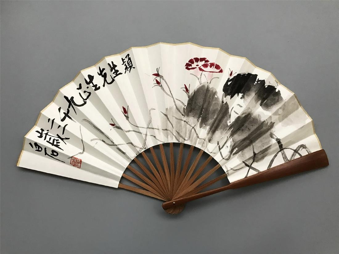 CHINESE FAN PAINTING OF FLOWR