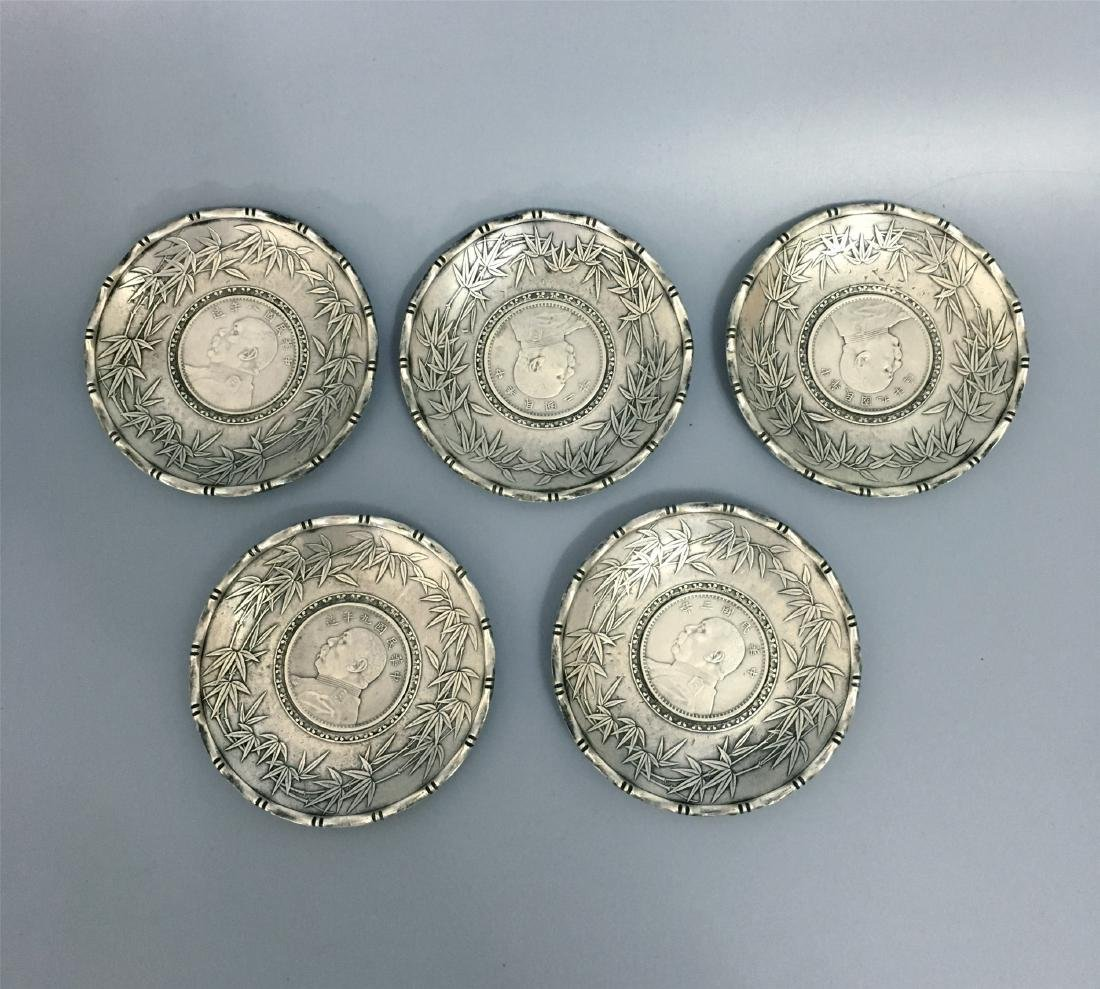 FIVE CHINESE SILVER TEA DISH COINS INLAID