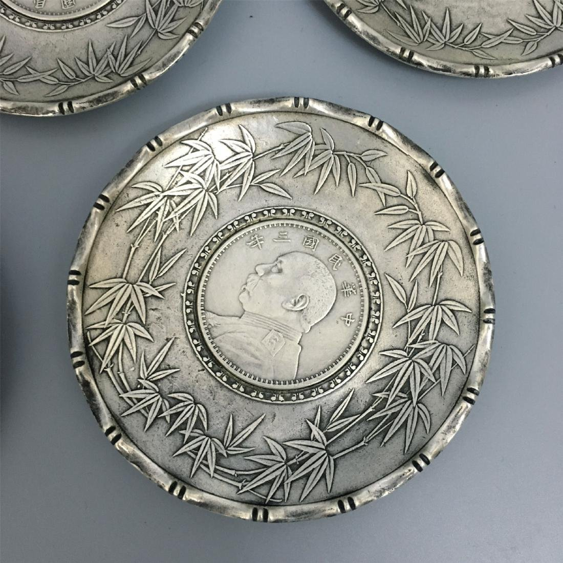 FIVE CHINESE SILVER TEA DISH COINS INLAID - 2