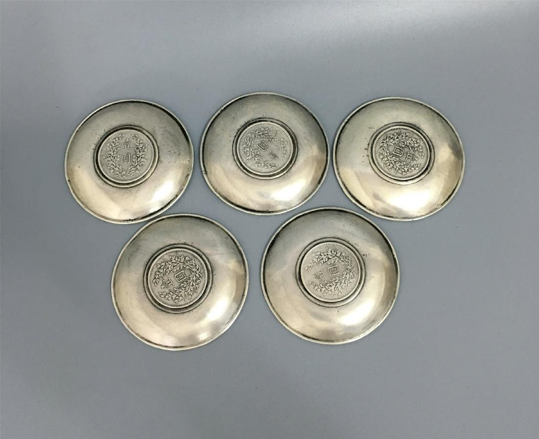 FIVE CHINESE SILVER TEA DISH COINS INLAID - 3