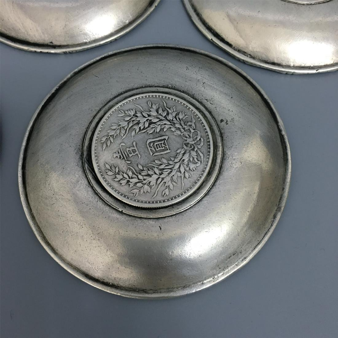 FIVE CHINESE SILVER TEA DISH COINS INLAID - 4