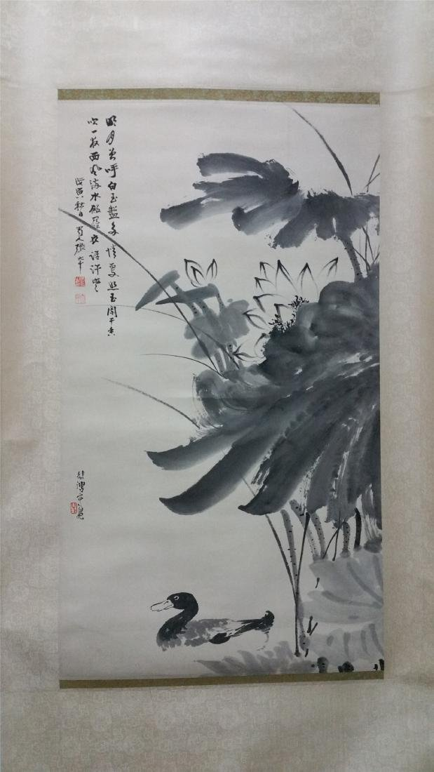 CHINESE SCROLL PAINTING OF LOTUS AND DUCK