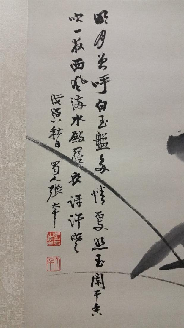 CHINESE SCROLL PAINTING OF LOTUS AND DUCK - 6
