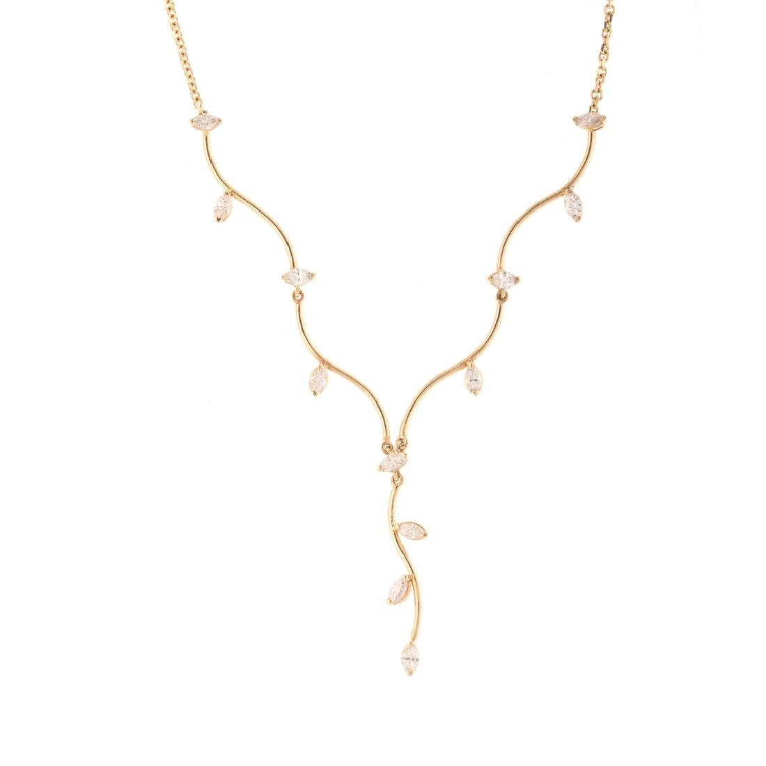 A Lady's Marquise Cut Diamond Necklace