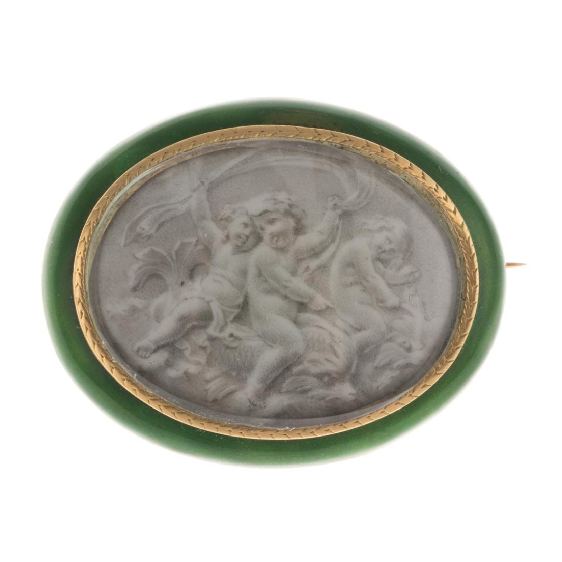 A 19th Century Gold Enamel Painted Brooch