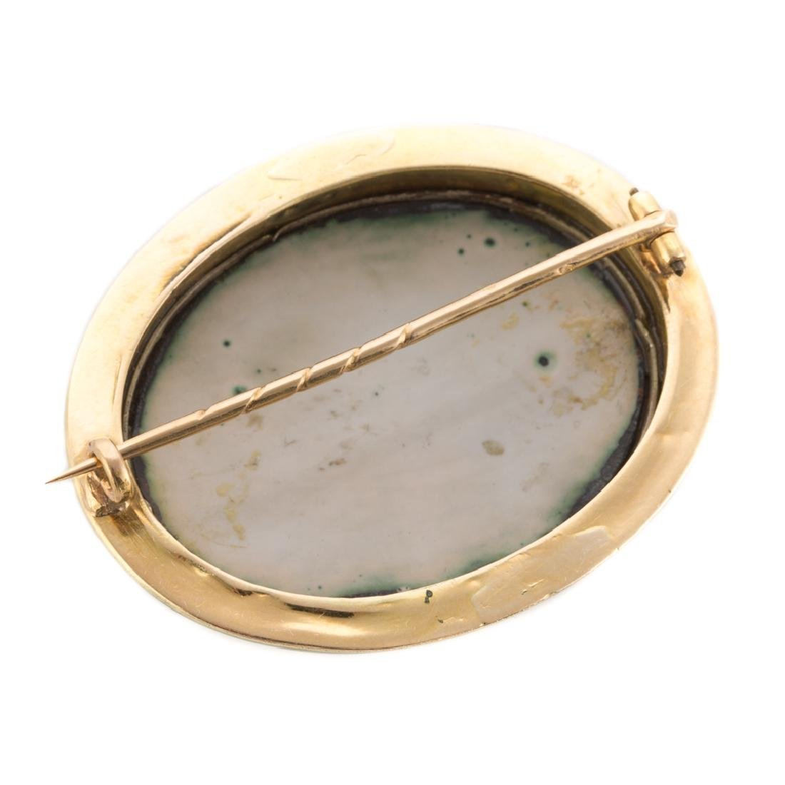 A 19th Century Gold Enamel Painted Brooch - 3