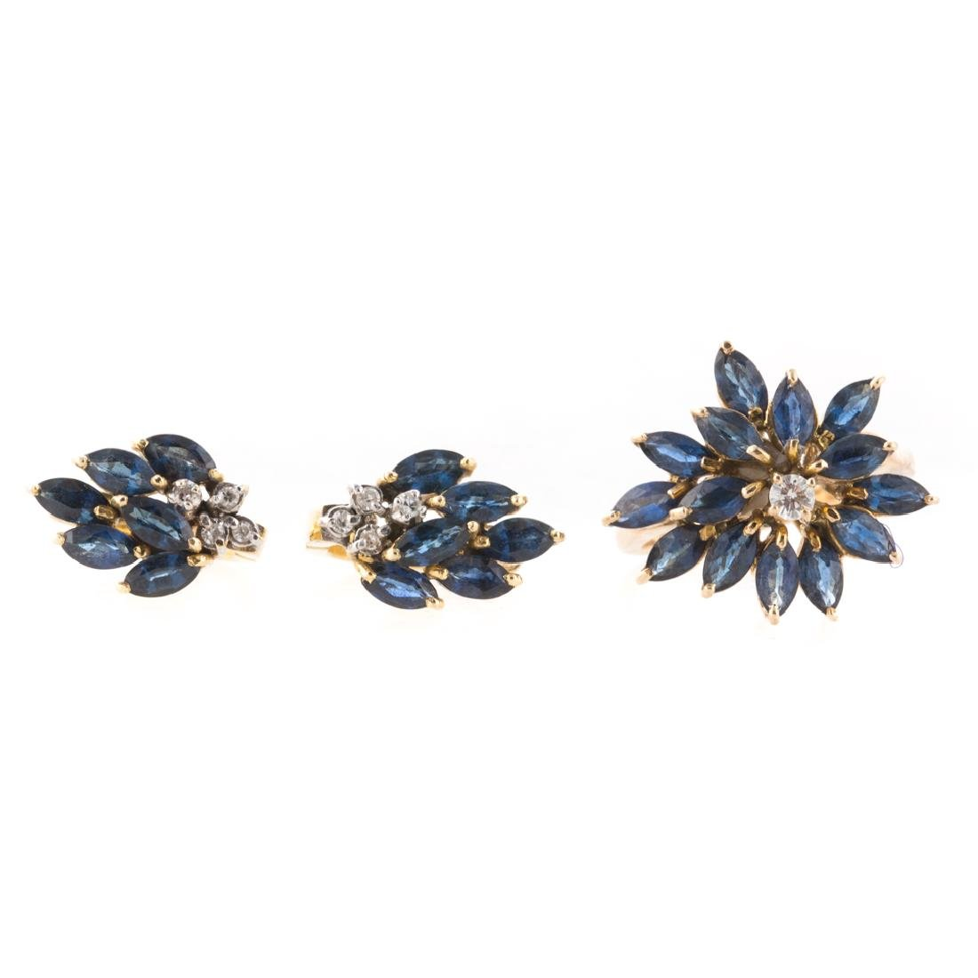 A Sapphire and Diamond Ring & Earring Set in Gold