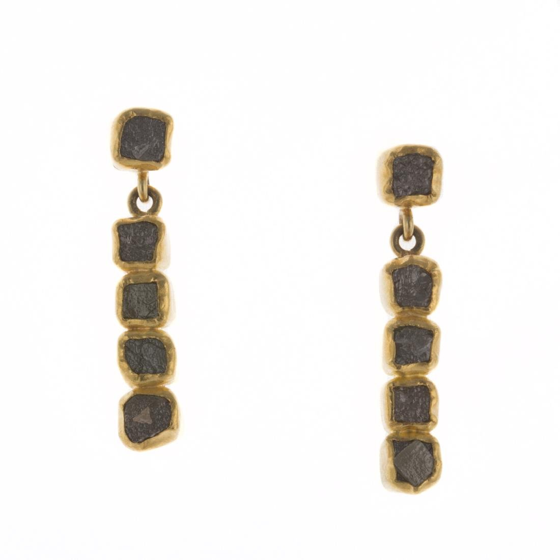 A Pair of Raw, Natural Diamond Earrings in 22K