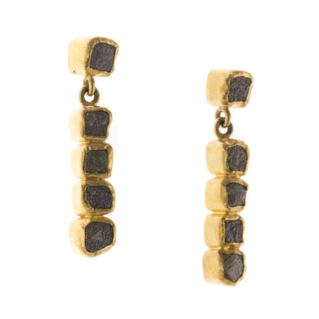 A Pair of Raw, Natural Diamond Earrings in 22K - 2