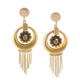 A Pair of Gold Victorian Diamond Dangle Earrings