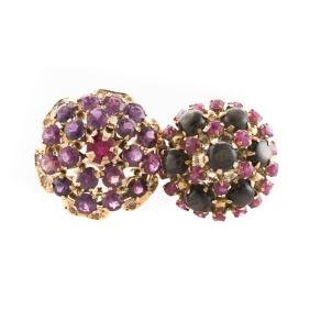A Pair Of Lady's Gemstone Cluster Rings In Gold