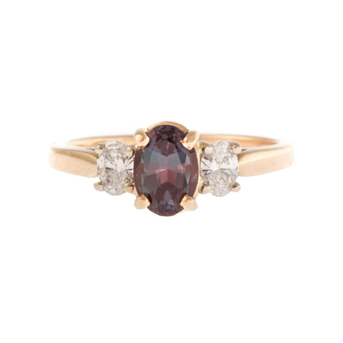 A Lady's Natural Alexandrite and Diamond Ring