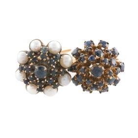 Two Cluster Rings With Sapphires & Pearls In Gold