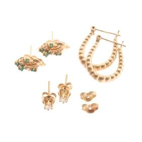 A Trio of Lady's Earrings in 14K Gold
