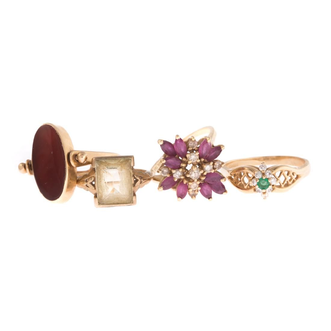 Four Lady's Gemstone Rings in Gold