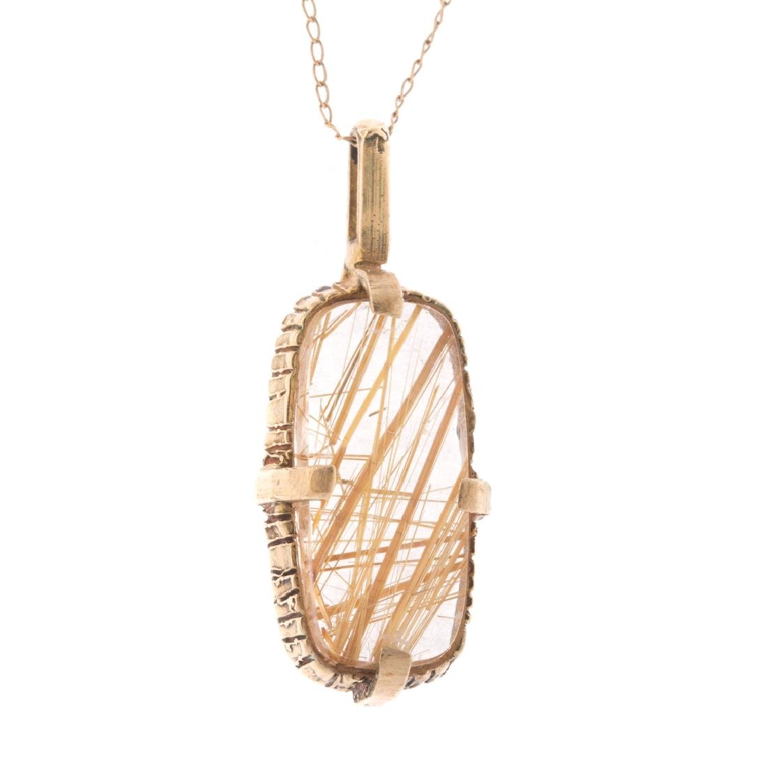 Two Lady's Gold Chains & Rutilated Quartz Pendant - 2