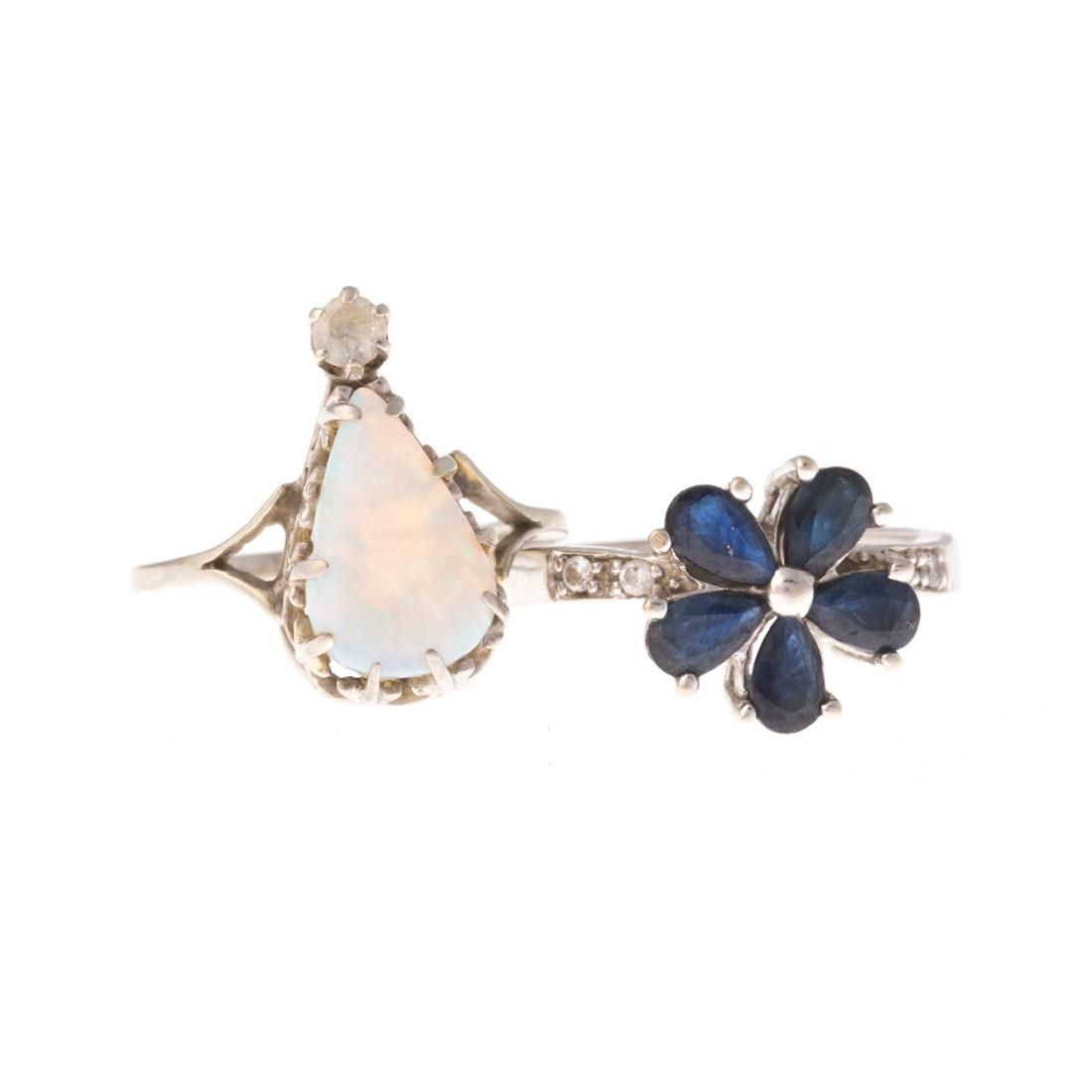 A Pair of White Gold Gemstone Earrings