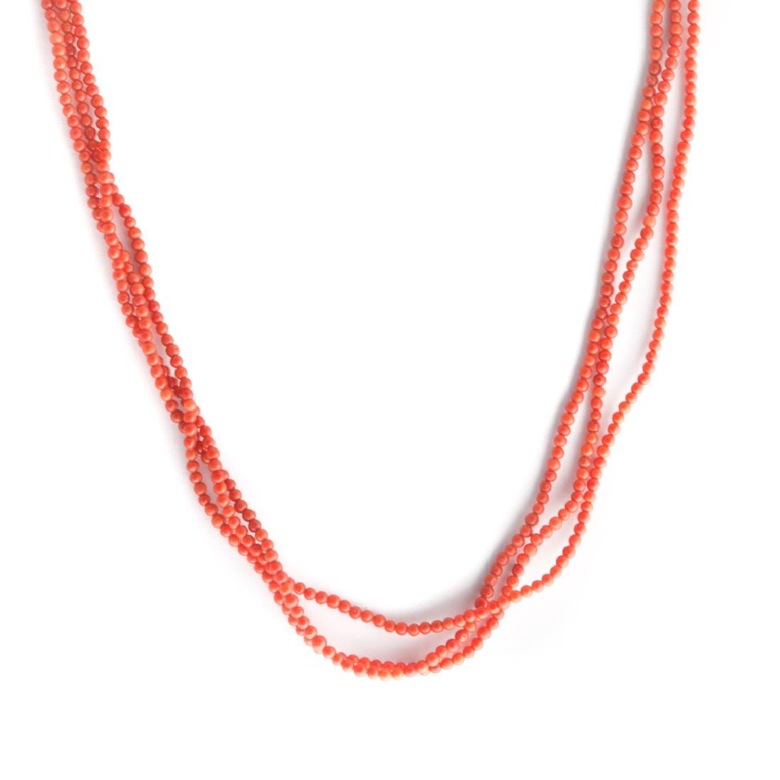Three Strands of Very Fine Coral Beads