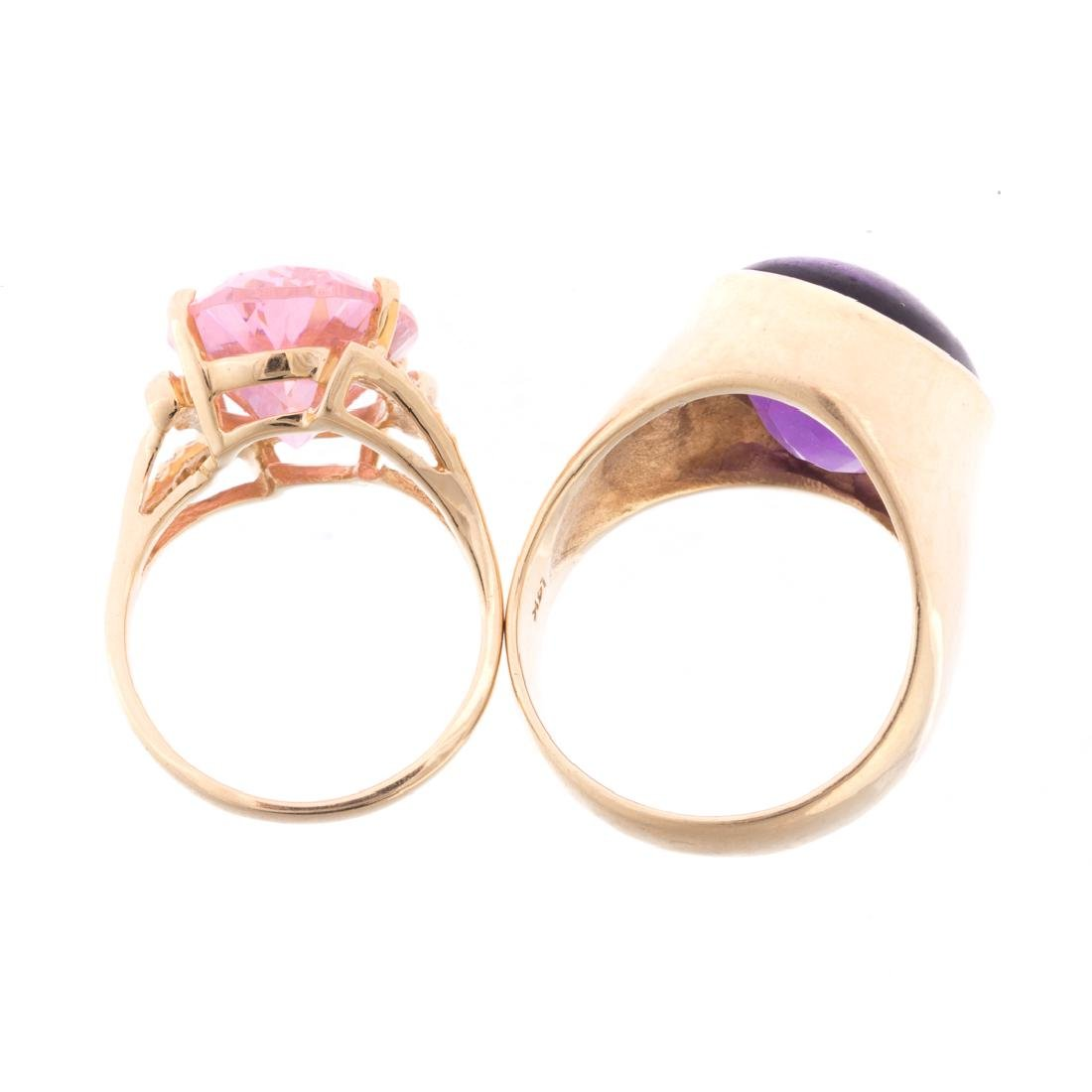 Two Lady's Gemstone Rings in 14K Gold - 4