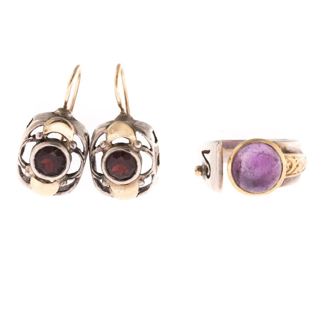 A Contemporary Amethyst Ring & Garnet Earrings