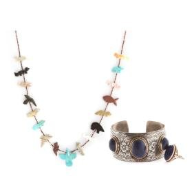 A Lapis Ring & Bracelet with Fetish Necklace