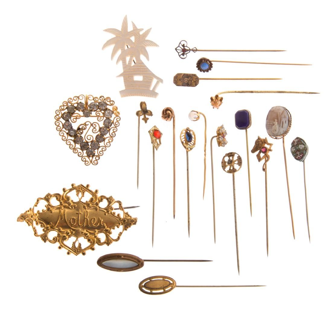 A Collection of Stick Pins and Brooches