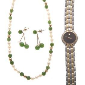 A Lady's Movado Watch & Jade Jewelry
