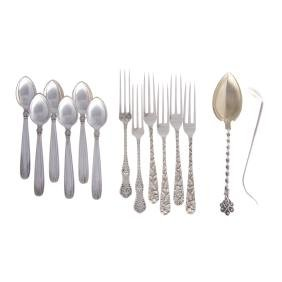 American & Continental sterling small flatware