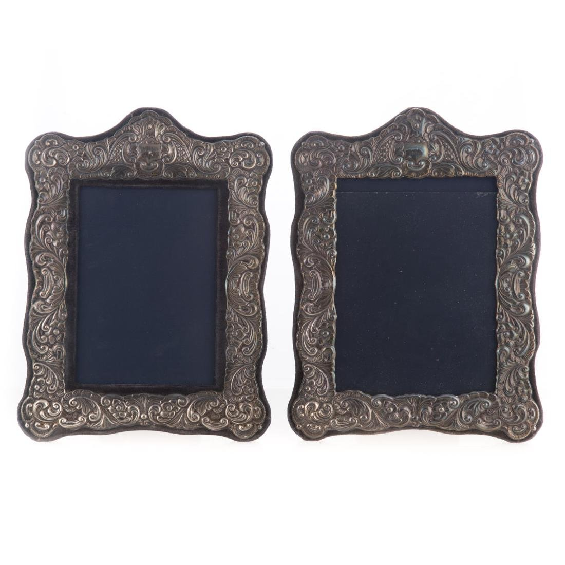 Pair of repousse sterling 5 x 7 picture frames - 3